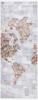 A digital rendering of a world map created by collaging antique postage stamps over a field of patinated canceled envelopes.