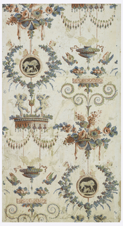 Vertical rectangle composed of three joined sheets giving full width of original paper and all but three inches of drop-repeating design, which repeats twice in one width. A bowl of flowers is placed above a medallion enclosing a suckling sheep with lamb, surrounded by a wreath; and below a brule-parfum flanked by two birds taking strawberries from compotes. Above the latter motif is the fourth motif of the design, confronted putti dancing on a baldaquin from which hang two swags.