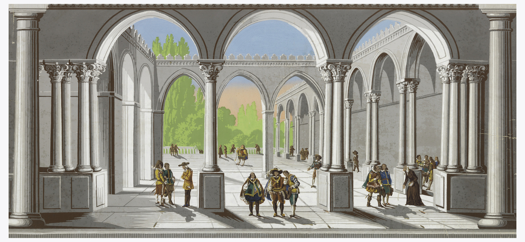 Cloister or open courtyard seen in deep perspective. Grisaille arcade and portical, with figures in sixteenth century costume. Landscape seen in distance through colonnade. Brush strokes are evident in some of the pigments. Sky is shaded from orange-pink up to blue. Horizontal rectangle.