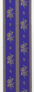 Brown paper, wide stripes in aniline blue, scattered flower clusters on the latter in drop repeat.