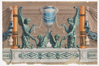 Vase at center, from which are suspended ropes of pearls. Two winged terms at either side catch up the ends of the pearl ropes and with their hands grasp the paws of two addorsed griffins seated at the base of the vase. Columns and drapery at either side.  Printed in shades of mauve, turquoise, blues, pink, taupe, brown, yellow, orange, black and white.