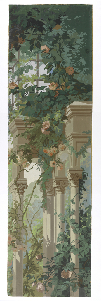 """a"": Irregular-shaped fragment showing portion of a free-standing arcade with Corinthian columns, around which grow wisteria and other vines in large scale. Across top is trellis with pink roses; ""b"" almost identical motif, but building terminates at left side instead of at right. ""a"" and ""b"" are part of major picture of the scenic."