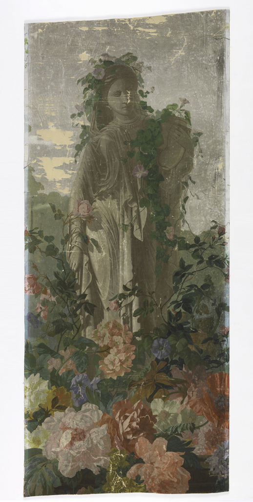 Grisaille statue of woman in classical robes, carrying a jar, around which twist morning glory vines and flowers. At the base of the statue are large scale, multi-colored flowers. This is center motif of panel which includes 1953-158-5-a,b.