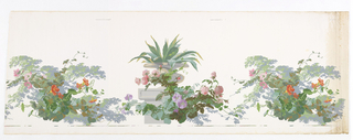 Stone vase, containing jagged-leaf plant, resting on top of a pedestal, with roses and morning glories twisting around this. This motif alternates horizontally with a cluster of morning glory vines with blossoms at the back of which are leafy branches. Printed in multicolors on white ground.