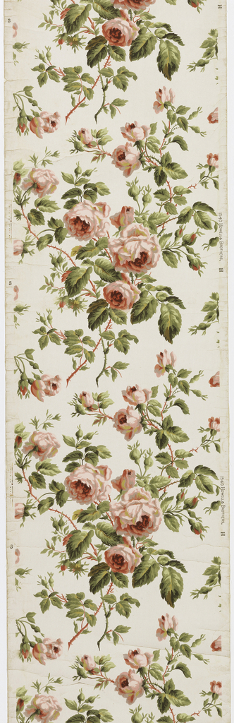 "On off-white ground thorny stems with large pink roses, buds and green leaves. The roses printed in wet-on-wet technique, straight repeat, drop match. On right margin: ""Howell and Brothers 1540 H""."