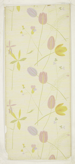 "Against a light yellow ground, finely embossed, are printed large simplified tulips and other blossoms in red, yellow, green, and lavender growing from long slender stalks printed in light green. Half-drop repeat. Printed in margin: ""Entwurf V.L.H. Schmidt - Vereinigte Werkstatten""."