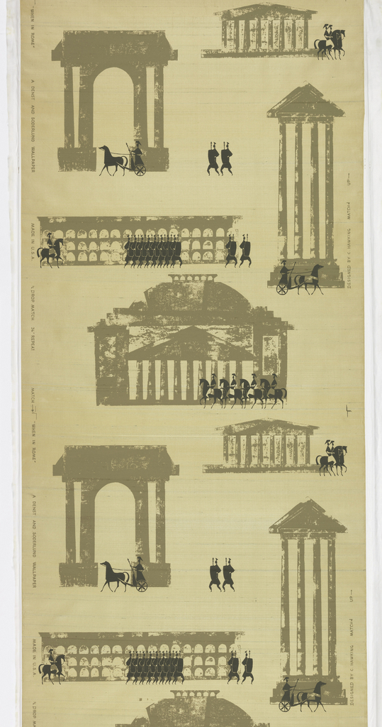Against a paper-backed, gold silk ground are printed simplified classical buildings and ruins, groups of warriors, figures in chariots, and on horseback, in a dark and light value of gray-green.