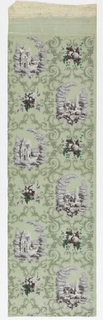 Green foliate scrolls enclose grisaille scenes of two houses beside a road, and a church and horse beside a stream with a bridge, together with clusters of grapes and apples. Three full repeats of the pattern. Printed on green polished or satin ground.