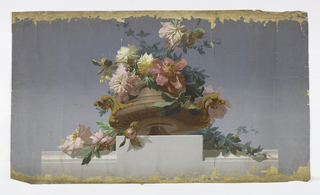 Against blue-gray ground, realistically rendered as if viewed from below, low brown urn with gilt handles, filled and overflowing with pink and white peonies, muted green foliage, on shaded gray base.