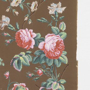 Vining floral, with large red roses and assorted other flowers. Printed on dark brown ground.