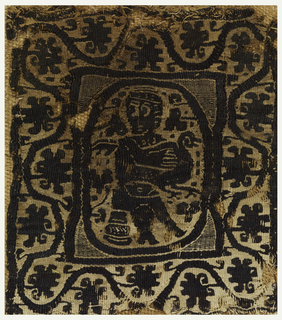 In center a seated figure holds a duck or a goose. The figure is within an oval which is within a square. There is a wide outer border of a curving vine.