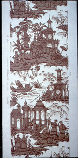 """A chinoiserie design reproduced from an old Zuber, French wallpaper of the late 18th century. Composed of two different motifs in a drop repeat and both are garden fantasies. One motif is of a Chinese lady reading in her garden with her attendants. Summer houses and trellised arbor in background. The second motif consists of men serving food from pot, while another man is ringing gong, and another catching fish in a net. Garden architecture in background. Printed on margin: """"Phila. A.L. Diament, N.Y. Pagoda""""."""
