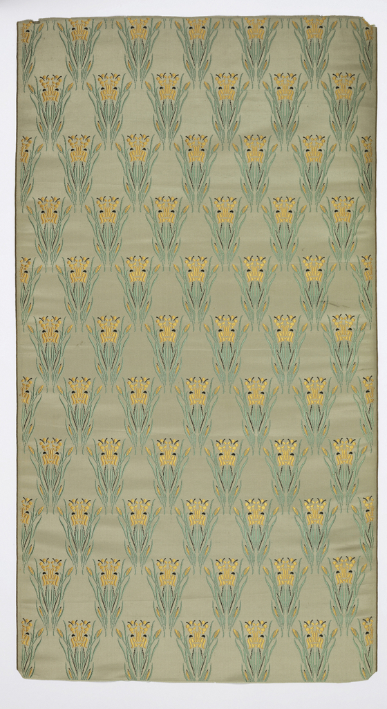 Beige satin with a design of irises in alternating horizontal rows in green, orange and black.