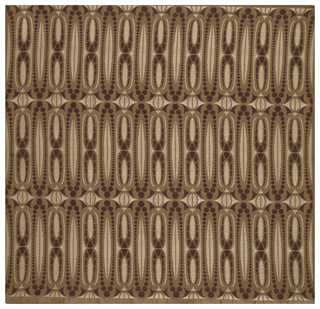 Sample of a figured satin with three horizontal repeats of design. Tan satin ground with repeating elliptical shapes in maroon and light brown.