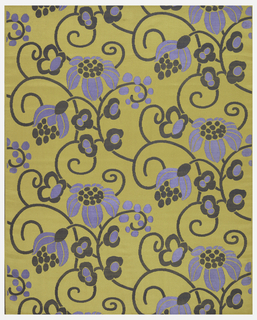 Yellow satin with a floral design in blue and gray. Design of conventionalized serpentine scrolling slender branches with large blossoms and buds.