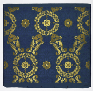 Bright blue satin with ground figures of stiffly symmetrical acanthus leaves. Wreaths, rosettes, and acanthus leaves brocaded in plain and frisé gold thread.