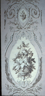 A classical urn containing a large floral bouquet is enclosed in an oval medallion with a frame of delicate molding and leaf motifs. Between large medallions is a small one enclosed with an intricate intercrossing of delicate acanthus scrolls. Reproduced from a French wallpaper printed by Zuber in the early 19th century. Printed in grays and ivory on beige field.
