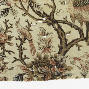 Large scale design of a woody vine with exotic flowers, parrots and smaller birds, in shades of brown, tan, rose, red, blue, and faded violet on an off-white ground.  Fine picotage around parrot's eyes. Right selvedge present.