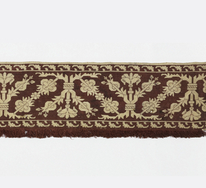 Pattern of curving plant forms in reserve against a red background. Warp-faced woven band with weft elements forming the fringe attached on two sides.
