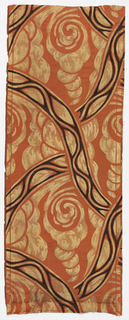 Long narrow fragment with an abstract design of swirling cloud-like forms and lines crossing at angles, in yellow and brown on a coral ground.