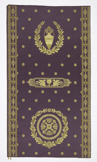 Length of purple silk satin with Empire-style design in two shades of yellow. At the top, a Grecian urn surrounded by a laurel wreath; in the middle an horizontal rectangle with confronted griffons; at the bottom a large rosette surrounded by a wreath. All-over pattern of small rosettes in the background. Geometric borders on the two long edges.