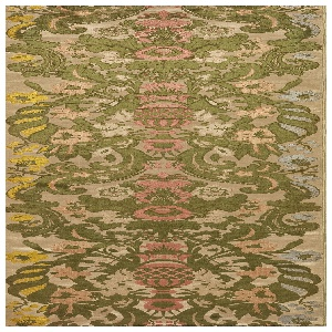 Length of voided velvet with cream satin foundation and cut and uncut pile in gray, green, pinks, tan and yellow. Symmetrical pattern of urns of flowers surrounded by scrolling leaves.