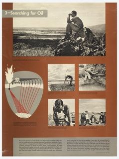 Poster design of five photographs with text under each, one graphic with text below it, and text in the lower margin. Upper left, text in white in gray box: 3—Searching for Oil. Photograph of a man on a hill using binoculars; left, a graphic depicting the use of a seismograph and exploding dynamite in order to strike oil; a truck with pipes leading into the earth and a spurt of oil to the left. Four photos below: one shows a man surveying the land; using a device to measure outcropping; using a magnetometer; three men using measuring devices. In the lower margin, a gray box contains black text explaining the scientific method of searching for oil.