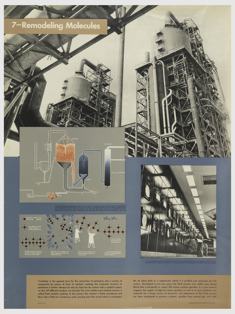 "Poster design for Standard Oil with graphics, text, and photography on a blue background. Upper left, in white text in tan box: 7—Remodeling Molecules, superimposed on a photograph of a factory. Below left, graphic depicts the method of ""Cracking,"" the cycle of transforming oil vapors into different molecules. Below this, graphic of two abstract figures taking symbols of carbon and hydrogen and turning them into aviation fuel. Right, a photograph of operators controlling the cracking process. Lower margin, black text in tan box explaining process."
