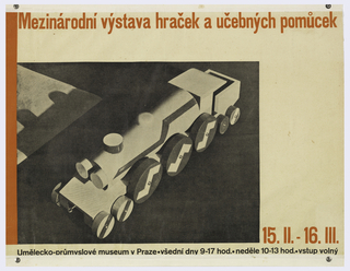 Poster depicts a toy train with text in orange and black in Czech.
