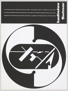 """The poster design is divided into two dominate areas. Across the top there is a black strip with white text and the artists name, and the bottom which is white with a large three part circular image.  The center portion of the image is a black capsule containing white geometric symbols. This is surrounded by a large white tilted """"S"""" shape enclosed by a black circle."""