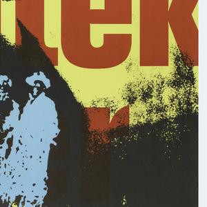 "Layered over a yellow background, the text ""Hannes / Meyer / Urbanist / Architekt / Lehrer"", layered over with a high-contrast black-and-white photograph of a man gesticulating, then layered over with a blue photographic image of men in a crowd, and finally layered over with the Russian inscription in white, ""Hannes / Mayer"".  With secondary inscriptions: ""Hannes Meyer Urbanist Architekt Lehrer / Museum fur Gestaltung Zurich / 21.3. - 20.5.1990"". And an inscription in fine print: ""Geoffnet: Dienstag bis Freitag 10-18, Mittwoch 10-21 Samstang, Sonntag 10-17 Uhr, Montag sowie 1. Mai geschlossen. Offnungszeiten uber Ostern siehe Tagespresse / Ausstellungsstrasse 60, 8005 Zurich""."