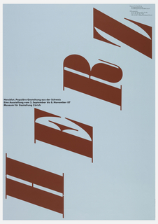 Red text sideways and in a diagonal vertical direction: HERZ; center left, in black ink: Herzblut. Populare Gestaltung aus der Schweiz / Eine Ausstellung vom 2. September bis 8. November 87 / Museum fur Gestaltung Zurich. Museum information in upper right.