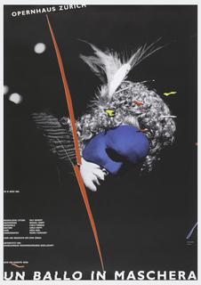 On a black ground, a masked woman wearing a wig, on her head and face visible, red lines vertically across her neck. In white ink, upper left: OPERNHAUS ZURICH; below: AB 19. MARZ 1989; OPER VON GIUSEPPE VERDI / UN BALLO IN MASCHERA.