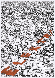 A black and white photomontage of a classically-garbed woman on a ground of stones; as though spray painted onto the stones, in red: ELEKTRA. At center, in black ink: RICHARD STRAUSS / HUGO VON HOFMANNSTHAL. Right column: AB 2. FEBRUAR 1991 / RALF WEIKERT / RUTH BERGHAUS / HANS DIETER SCHAAL / MARIE-LOUISE STRANDT / KARI KAMPER / CHOR UND ORCHESTER / DER OPER ZURICH / UNTERSTUTZT / VON DER GESELLSCHAFT / ZUR FORDERUNG DER ZURCHER OPER. Lower margin: OPERNHAUS ZURICH.