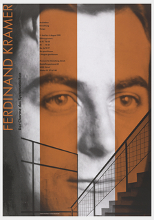 Poster features face of man surmounted with red stripes; below, a transparent staircase. Left side, text in red and black: FERDINAND KRAMER / Der Charme des Systematischen; on red band: Architektur / Einrichtung / Design / 5. Jun ibis 4. August 1991 / Offnungszeiten: Di-Fr 10-18 / Mi 10-21 / Sa, So 10-17 / Mo geschlossen / 1. August geschlossen / Museum fur Gestaltung Zurich / Ausstellungsstrasse 60 / 8005 Zurich / Telefon 01 271 67 00.