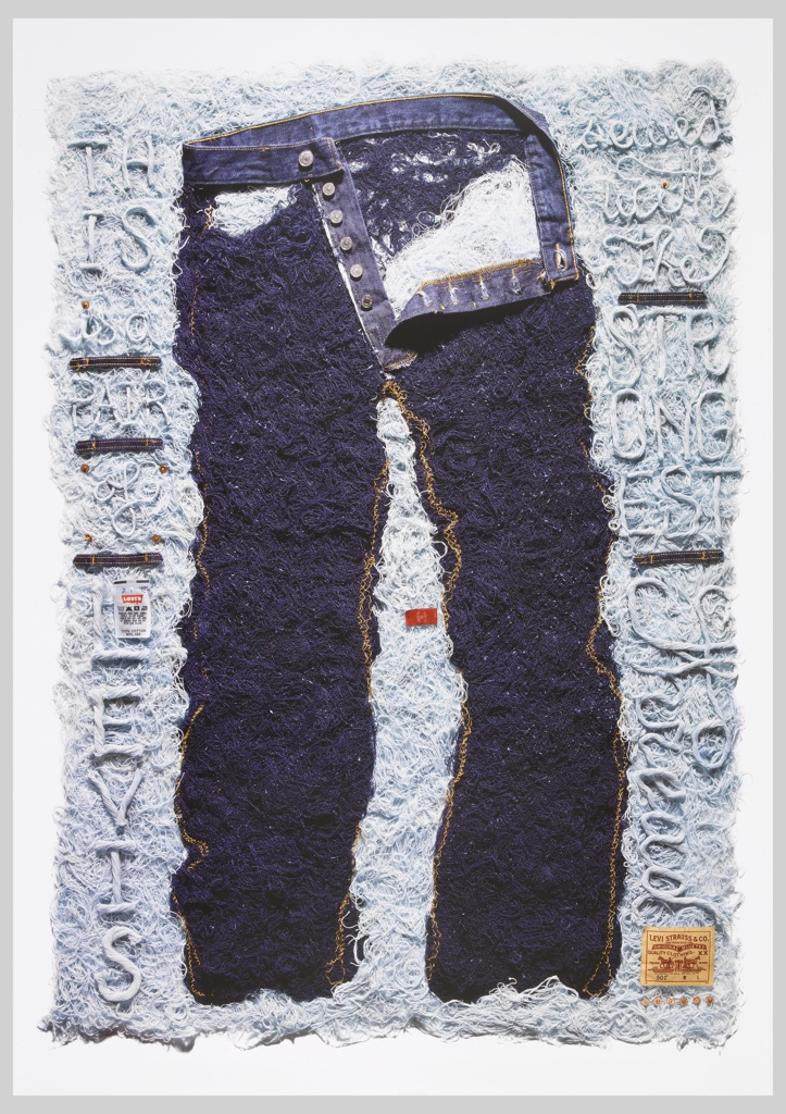 Poster advertisement for Levi's jeans. Recreation of jeans from its deconstructed thread.