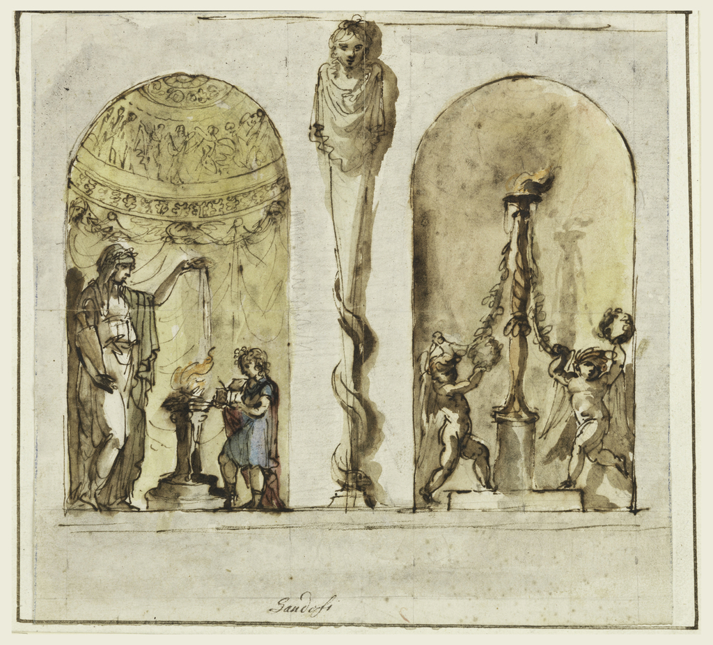 A herme with a woman's bust supporting the entablature, rises from a dado in front of the wall.  A sanke surround the lower parts.  Niches are laterally placed.  A sacrificing priestess is shown in the left one, a child holds the incense boy--two dancing puttis holding wreaths and garlands dragging from a candelabrum are shown in the right niche.