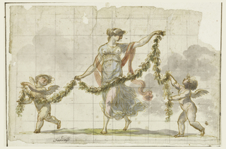 Horizontal format.  A dancing girl holding a garland together with two putti.  Squared.