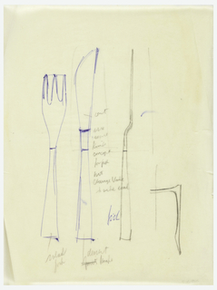 Design of fork and knife; front and side view; notations.