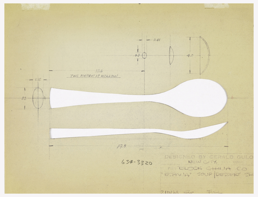 Photostat of silhouette of spoon; top and side view; diagrams of measurements; notations lower right and throughout.