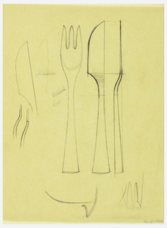 Flatware design of fork and knives; front and side view.