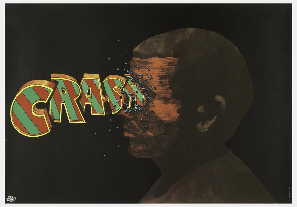 """At right, a man's face illustrated in shades of brown. At left, the word """"CRASH"""" in large, three-dimensional block letters in yellow, green and red. The letters crash into the man's face at center, breaking it into tiny pieces."""