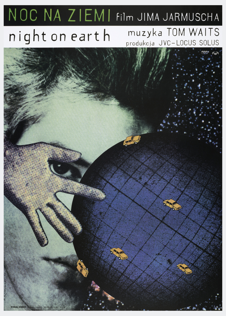 "On the left, taking up the entire height of the poster, is a green-toned black-and-white photograph of a man's face. On the right is an insert of a telescopic image of stars. Layered over these is a cartoon depiction of a blue globe encircled by orange cars, and a hand, apparently a newspaper cut-out, pointing to the globe and framing the eye of the man. At top, is the inscription: ""NOC NA ZIEMI a film JIMA JARMUSCHA / night on earth muzyaka TOM WAITS / produkcja JVC-LOCUS SOLUS""."