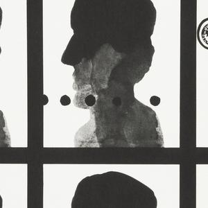 "On white background:  (1)An inscription at top: ""a sezession DER SCHATTEN / Atlas Film presentiert: Clen (Polen 1956) Ein Film von Jerzy Kawalerowicz mit Zygmunt Kestowicz, / Adolf Chronicki / Ein Exklusiv-Programm weltbekannter Filme. Festival-Sieger, umstrittene Filme, beruhmte Aussenseiter und klassische Meisterwerke werden erstmals in deutschen Filmtheatern volgerstellt"".  (2)An image: a 3 x 3 grid, the same image of a inkblot-like human head is repeated with minor alteration in details: in certain sections of the grid, a Nazi swastika, the numbers O5, a stamp with a royal eagle, black dots, black arrow, while some of the heads have cut-out ears, eye, or mouth."