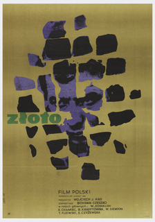 "On gold background, appearing as irregular spots, fragmentary blue-toned photograph of a man's face. At mid-left, in green, the title ""ZLOTO"". At lower center, the credits in smaller type."