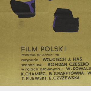 """On gold background, appearing as irregular spots, fragmentary blue-toned photograph of a man's face. At mid-left, in green, the title """"ZLOTO"""". At lower center, the credits in smaller type."""