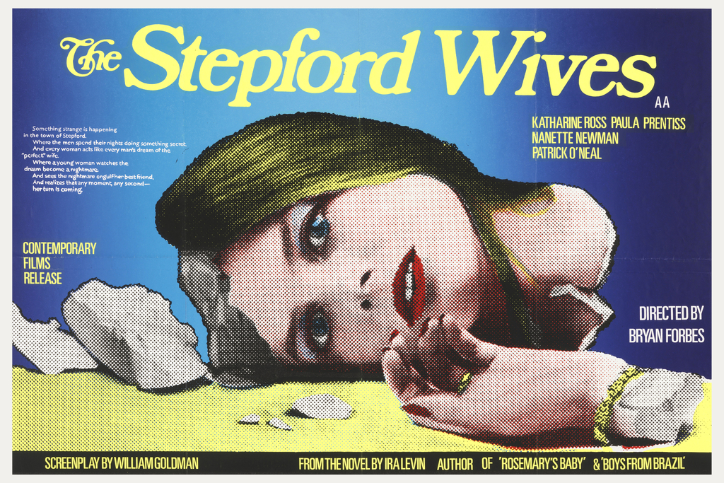On deep blue background, fading towards center: a yellow surface with broken-off hand and head of an attractive, stylish woman. 