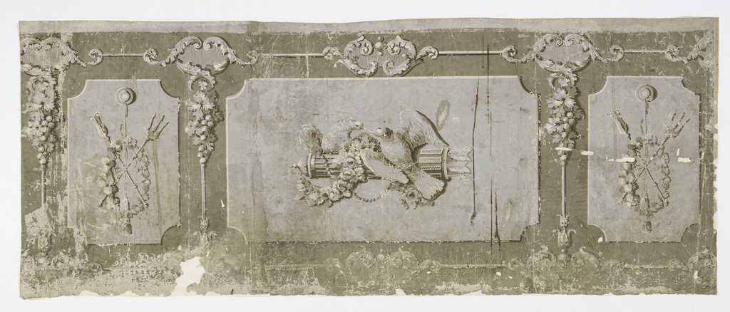 Large horizontal rectangle containing motif of doves perched on a quiver of arrows. On either side are vertical rectangles the designs of which are identical: a trophy made up of a wreath, cord and tassel, and crossed tridents. Printed in grisaille on gray ground.