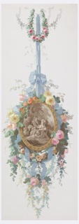 Framed oval medallion, depicting a Louis XVI shepherd and shepherdess in sepia, is suspended from a blue ribbon. The frame and ribbon are set off by clusters and ropes of roses, leaves and vines. Printed in colors on white ground.