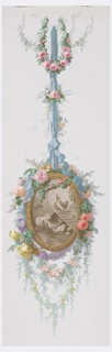 Similar in arrangement to 1955-12-1 but not so large. Landscape vignette enclosed within a floral medallion. The medallion is suspended by a blue ribbon. The sepia-colored landscape contains a sheep, multiple chickens and a rooster standing on a coop.